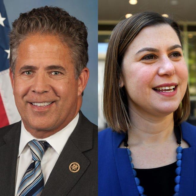 U.S. Rep. Mike Bishop, R-Brighton, and Elissa Slotkin, D-Holly