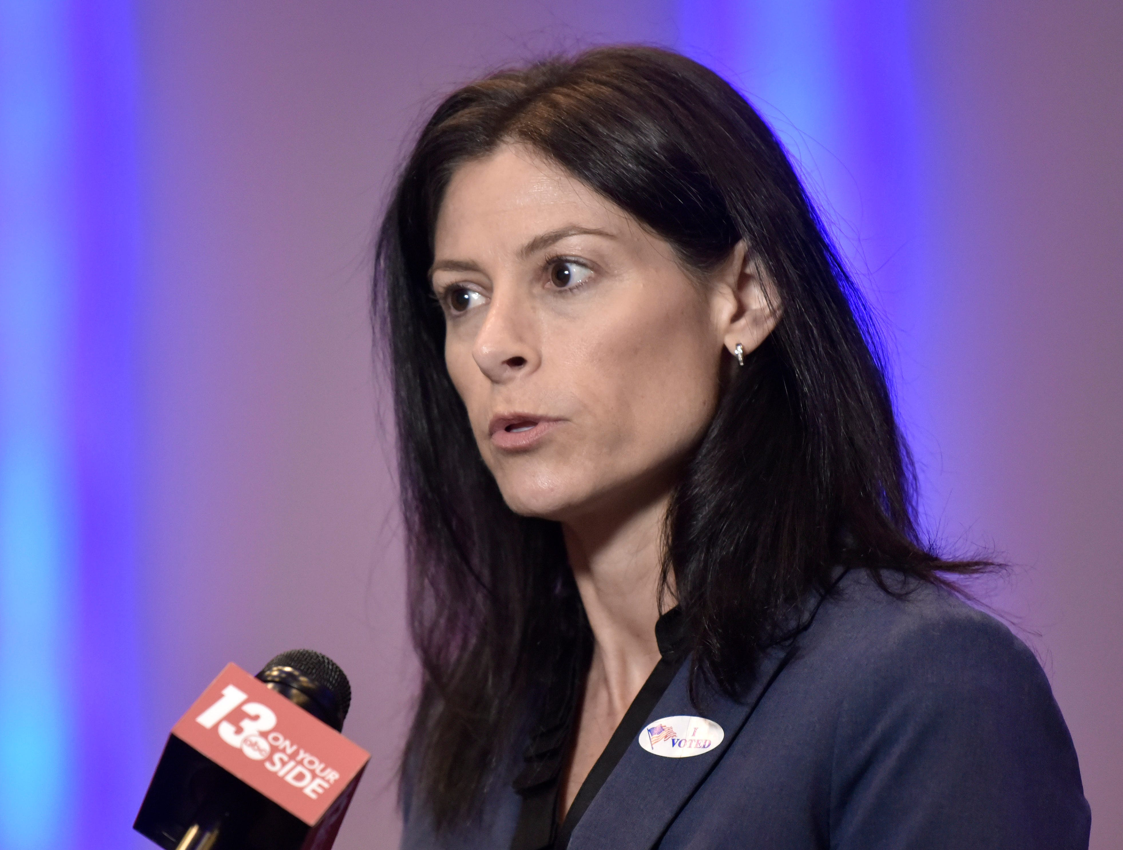 Democratic Attorney General candidate Dana Nessel is interviewed by WZZM 13 TV before the Abdul El-Sayed For Governor reception at Cobo Center in Detroit Tuesday night.