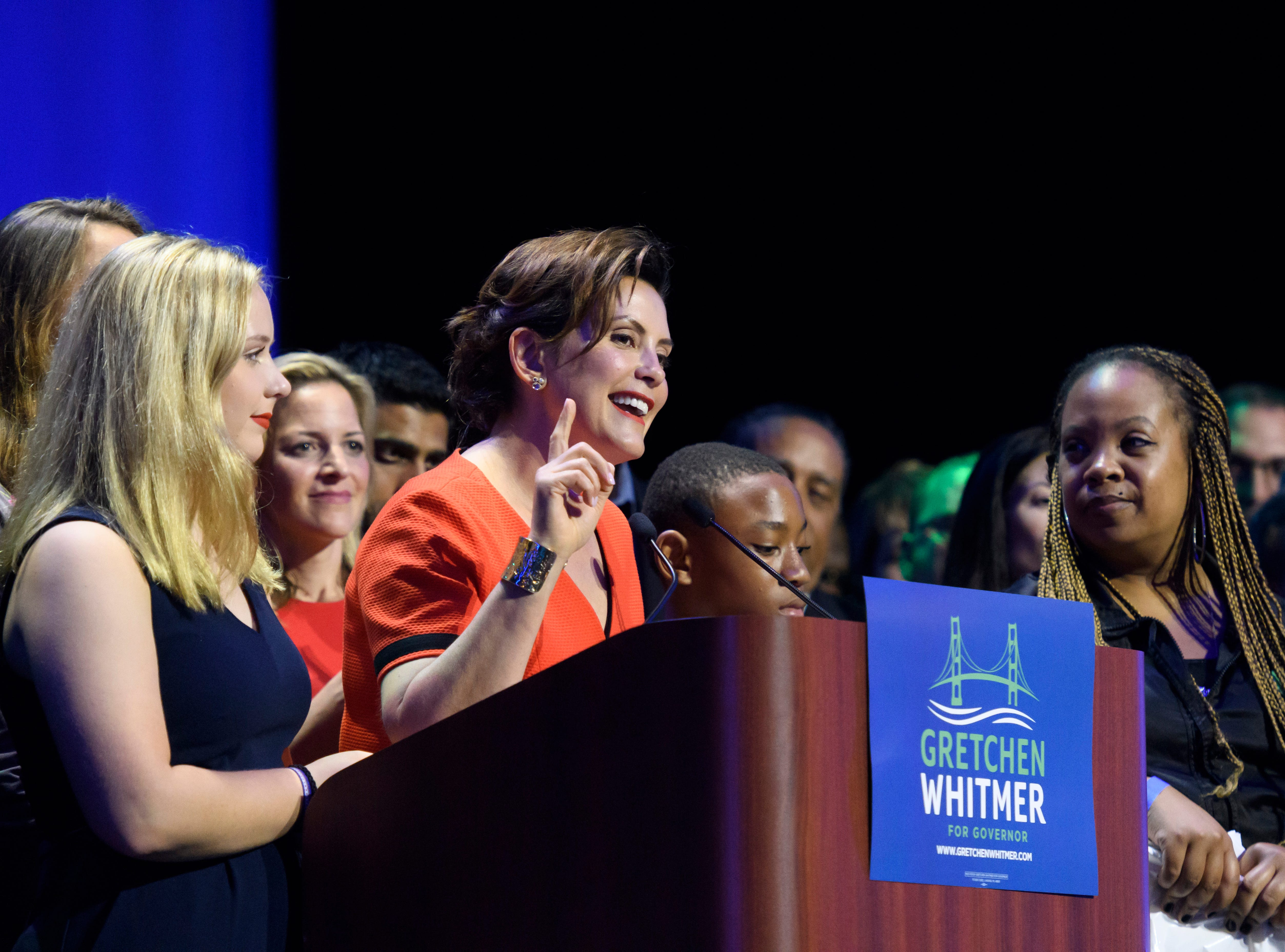 Michigan gubernatorial candidate Gretchen Whitmer gives her acceptance speech after winning the democratic primary .