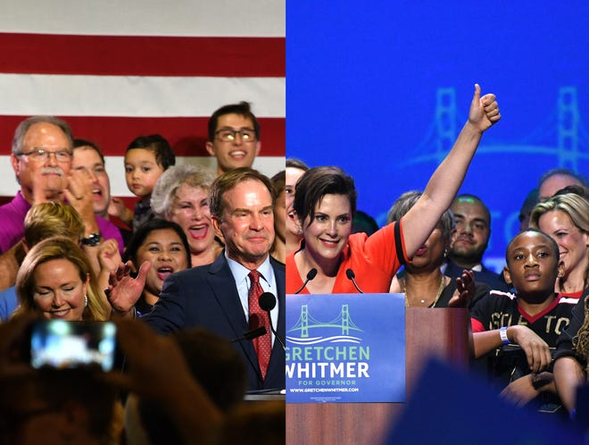 Michigan Attorney General Bill Schuette, left, and and former state Senate Democratic Leader Gretchen Whitmer will compete to be Michigan's next governor after winning party primary fights Tuesday night.