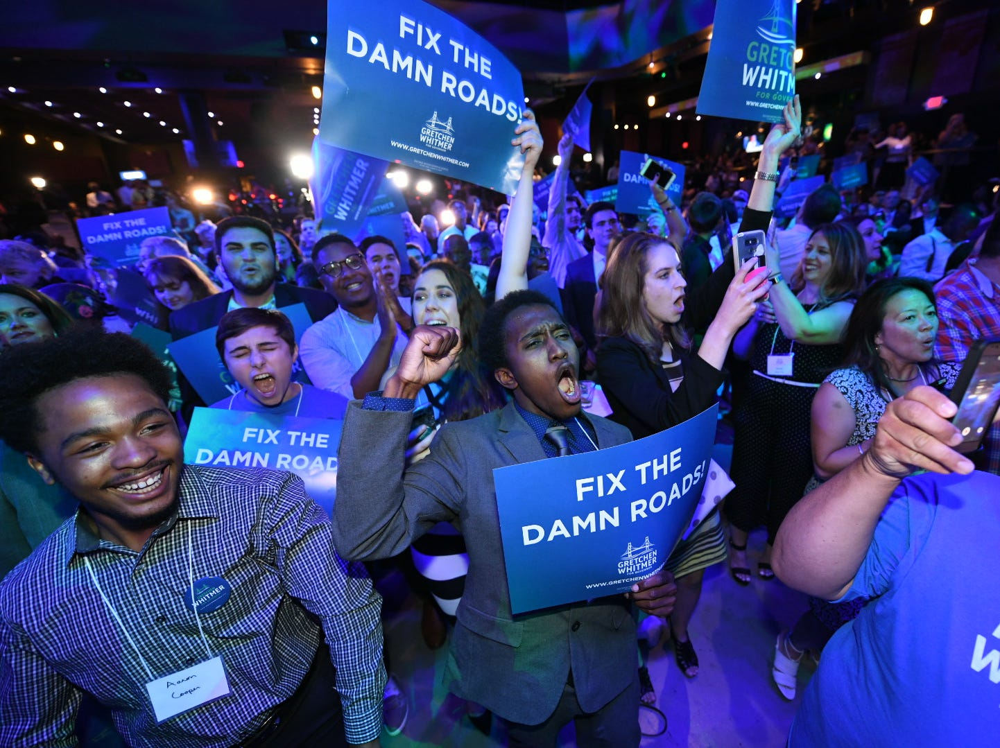 Supporters of Democratic gubernatorial candidate Gretchen Whitmer celebrate at Whitmer's election night party at the Sound Board inside Motor City Casino, in Detroit.