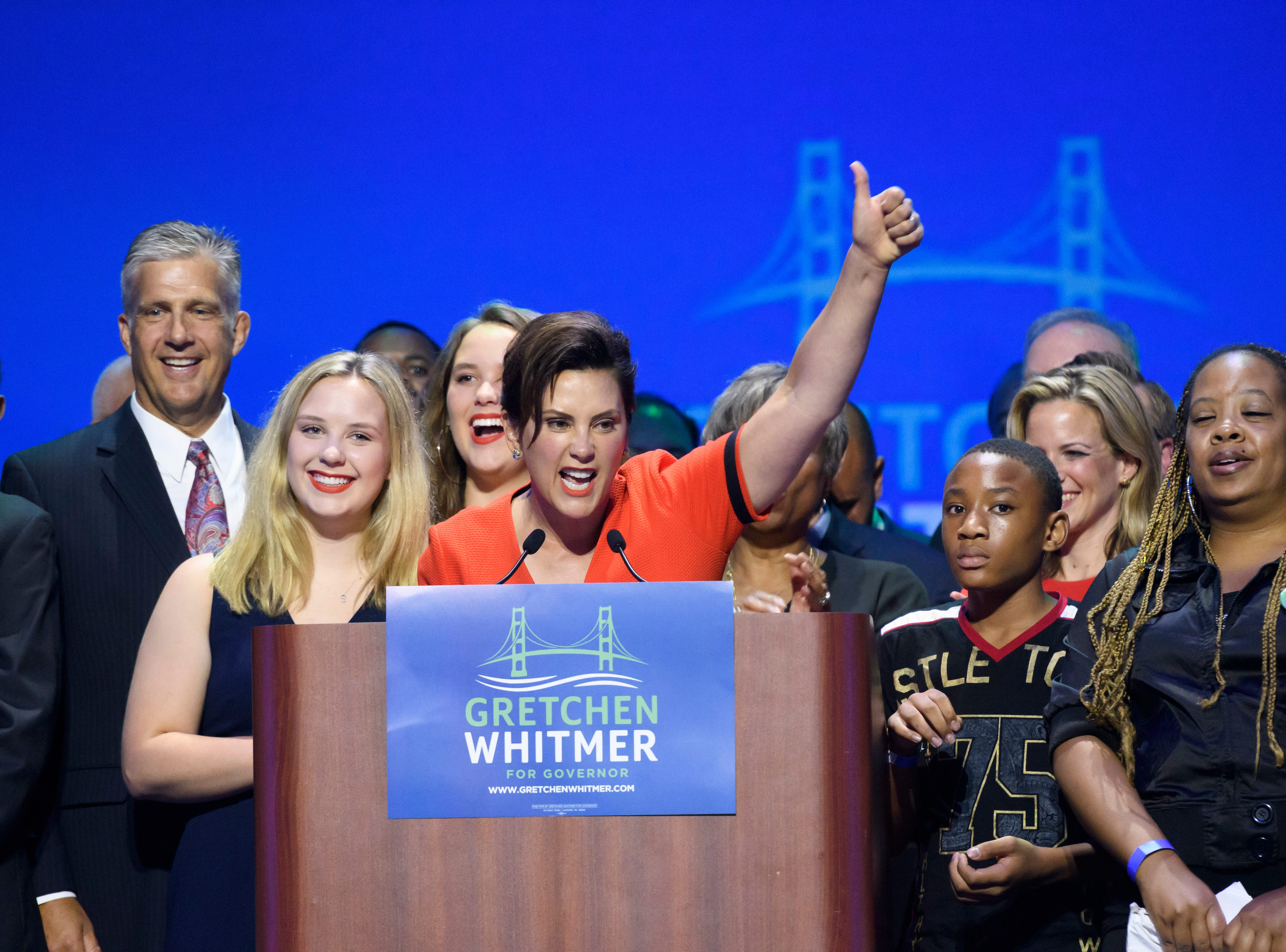Democratic gubernatorial candidate for Michigan governor Gretchen Whitmer  gives her victory speech at her election night party at the Motor City Casino in Detroit.