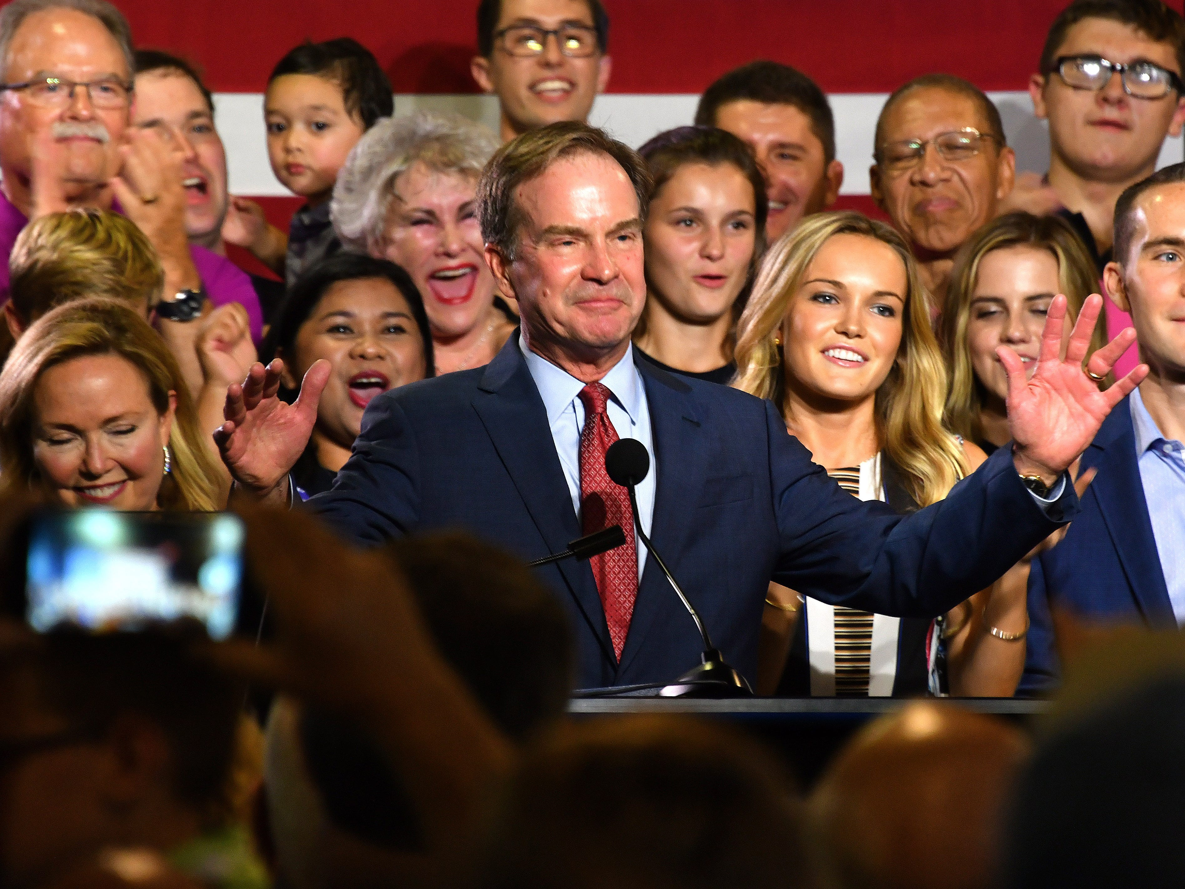 Michigan Attorney General Bill Schuette and his family greet supporters and announce he has won on primary election day, Aug 7, 2018 at Schuette's post-election event at Dow Diamond, the home of Midland's minor league baseball team.
