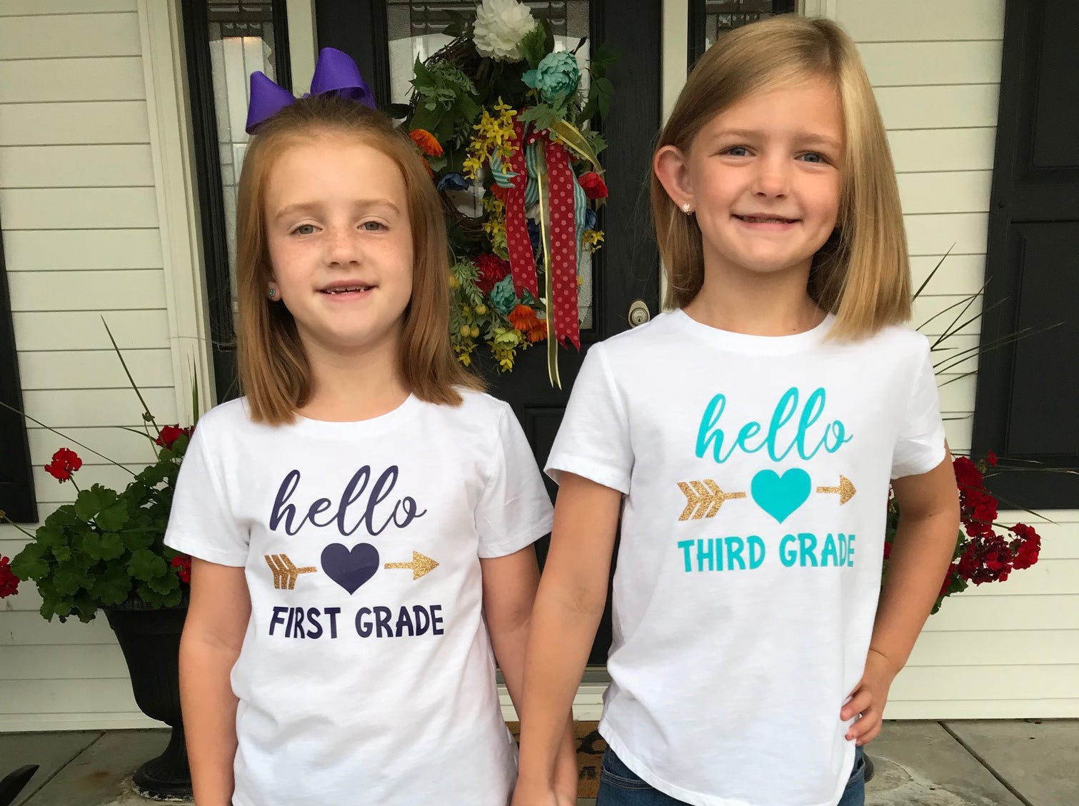 Avery's first day of 1st grade and Addison's first day of 3rd grade at Niagara Elementary