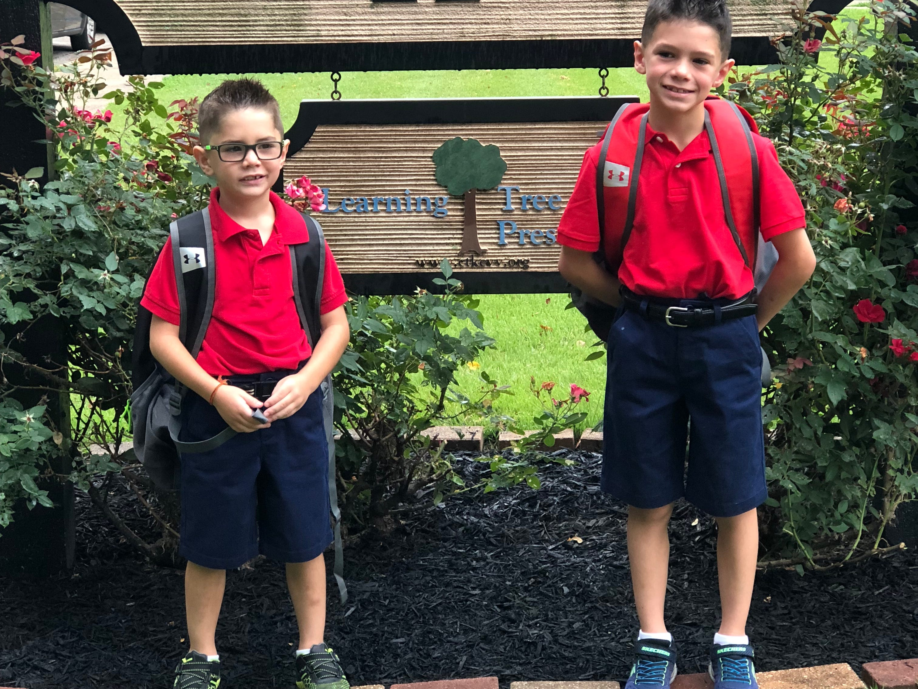 From left to right - Brothers Aidan Gray - 1st Grade and Aaron Gray - 2nd Grade @ Annunciation Catholic School at Christ The King