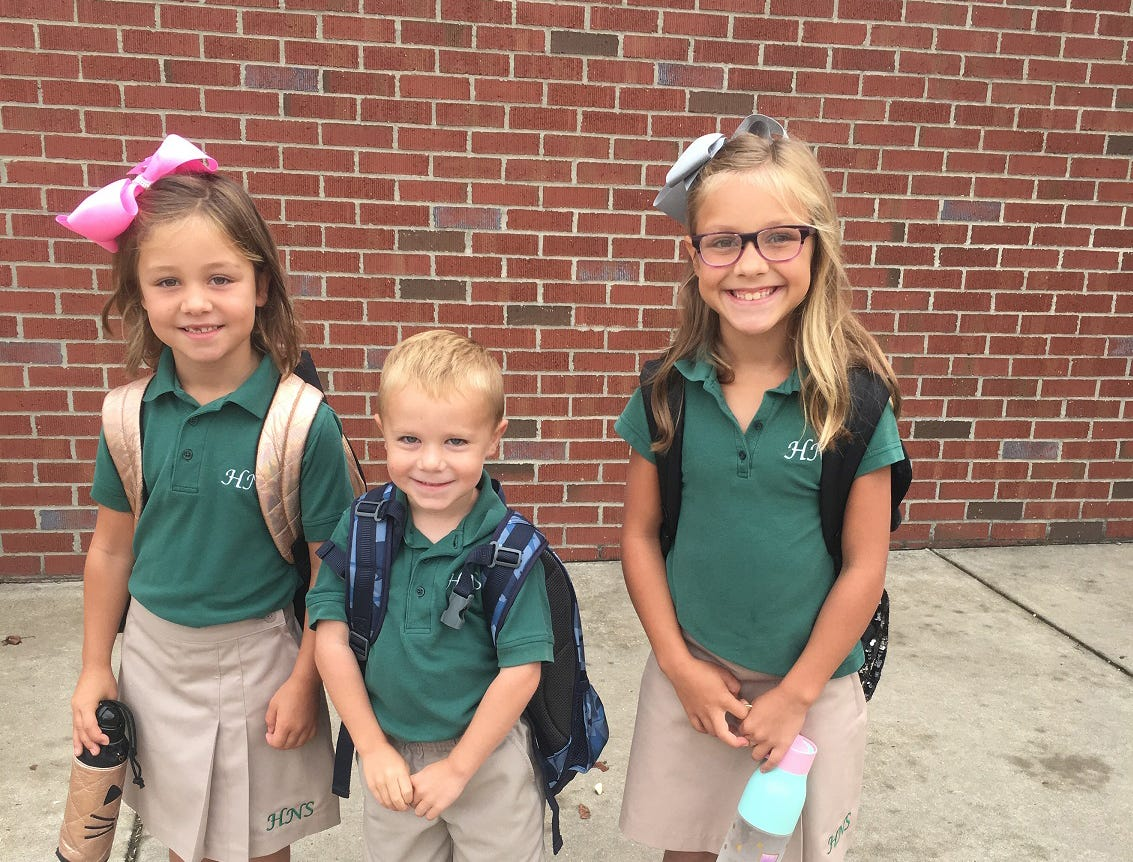 Watch out Holy Name... here they come, ready to learn!  Madelyn Jobe 4th Grade, Addison Jobe 1st Grade, and Mason Jackson Pre-K
