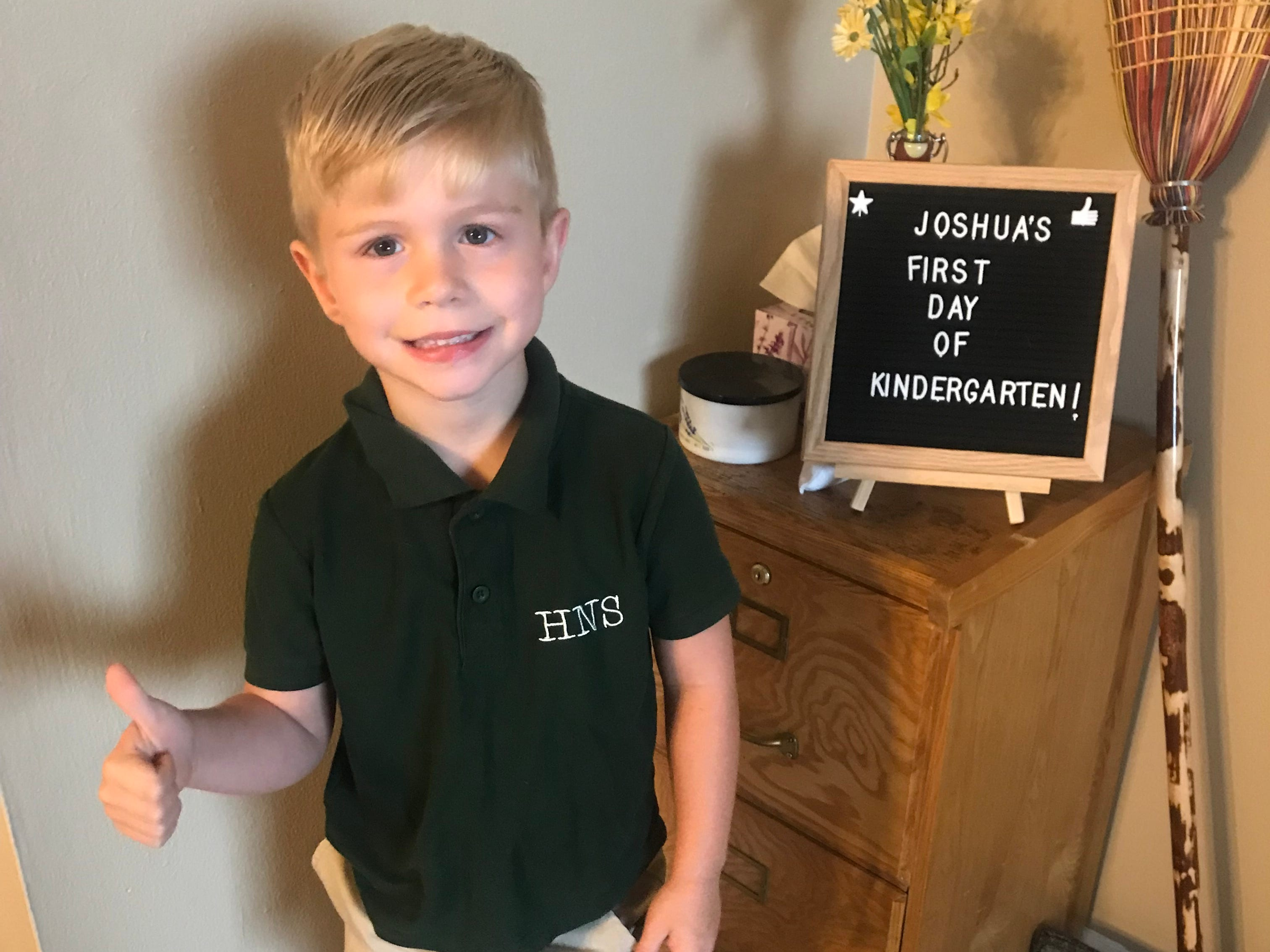Joshua Hayden's first day of Kindergarten at Holy Name School in Henderson