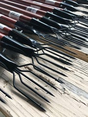 Barbed spears were given to participants of the frog gigging workshop, which taught how to catch, kill and cook frogs. The free workshop was presented by the Ohio Division of Natural Resources, Division of Wildlife, on Tuesday night.