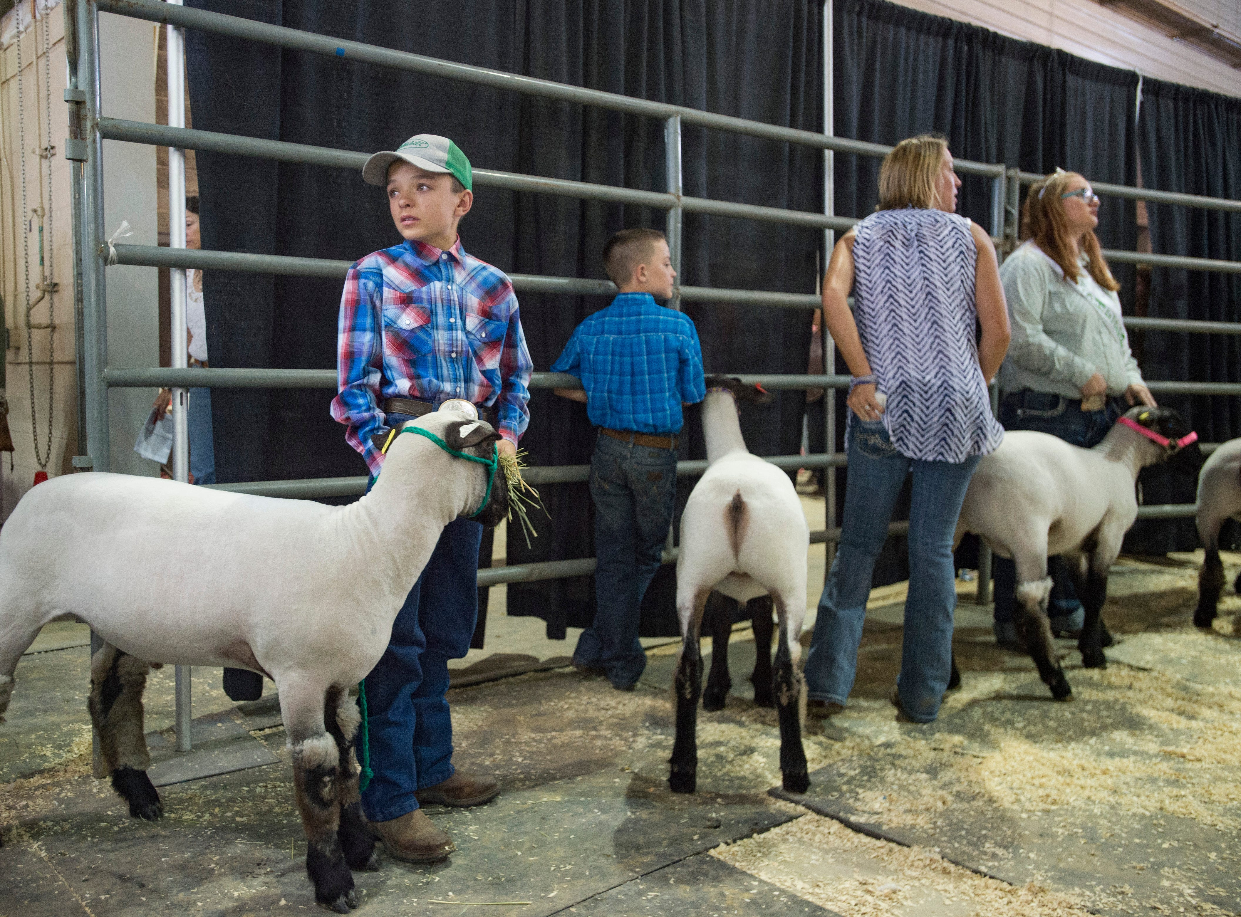 A teary-eyed Dylan Johnson holds onto his lamb before bids are placed at the Larimer County Fair Youth Livestock Sale at The Ranch in Loveland on Wednesday, August 8, 2018.