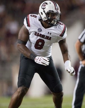 South Carolina Gamecocks defensive lineman D.J. Wonnum (8) in action during the game against the Texas A&M Aggies at Kyle Field.