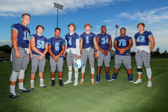 From left, Lucas Raber (16), Coby Greene (58), Anthony McFadden (6), Bryson Cheek (4), Jake Kimmelman (1), Julius Thompson (34), Noah Mangum (76) and J.R. Schroeder (42) lead Southside Christian into a season of high expectations.
