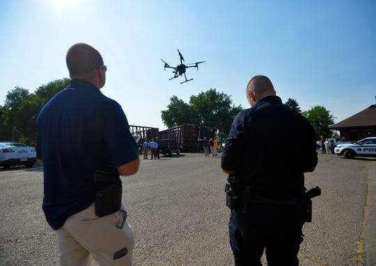 Great Falls Police deploy their drone to document a BNSF train derailment that occured on the tracks between the Great Falls Police Department and the Great Falls Tribune building on Wednesday afternoon.  Numerous cars in the police department parking lot were damaged by train cars.