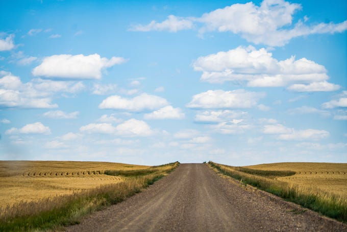 A gravel road through Montana's middle of nowhere northeast of Glasgow.