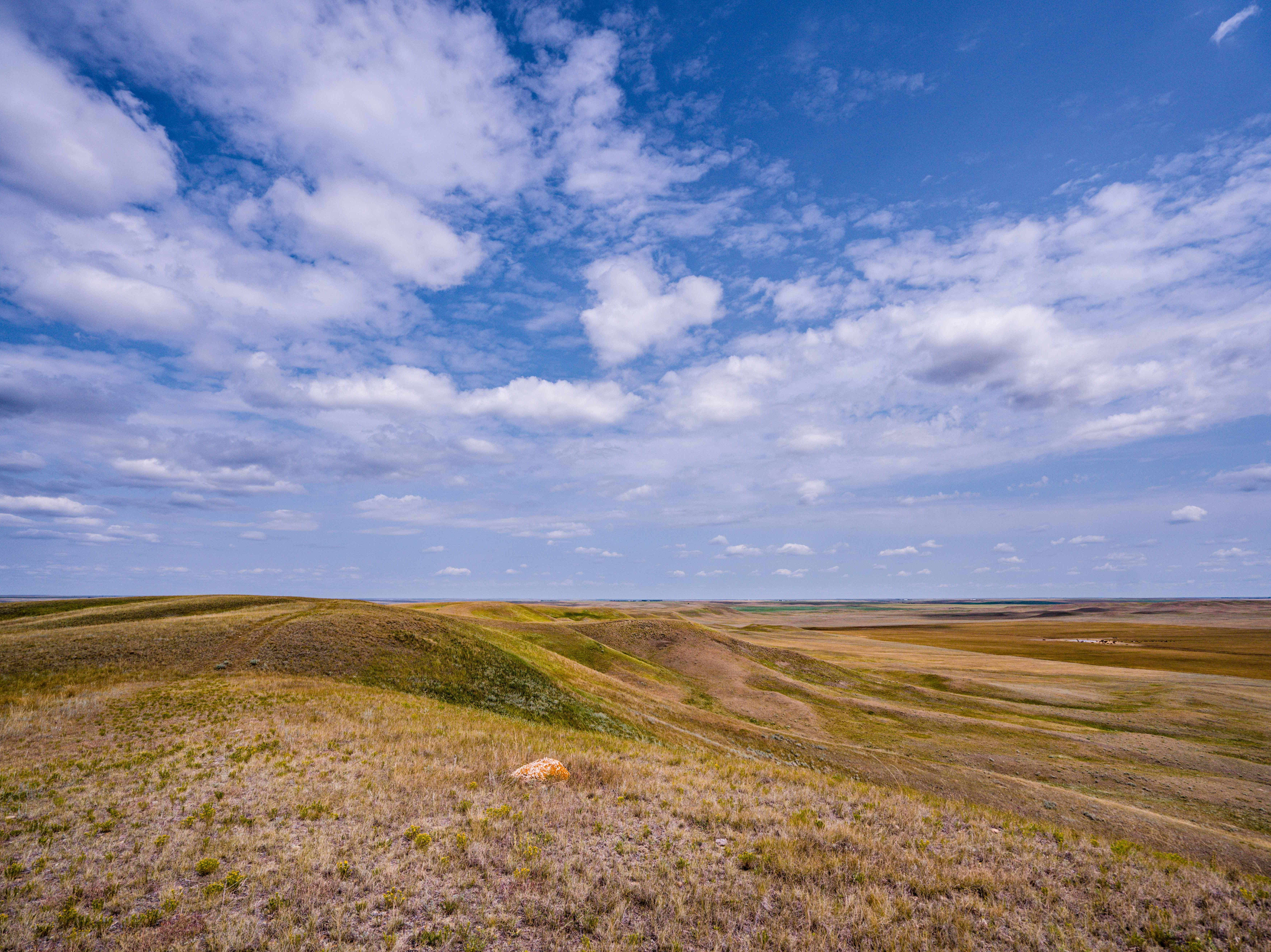 "The view of the ""middle of nowhere"" in Montana, rolling hills on the prairie north of Glasgow toward Larslan and Lustre."