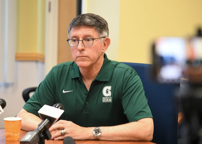 University of Guam Thomas Krise is shown at a press conference in this Aug. 8 file photo. Krise said he wants to explore new revenue streamsto help the university for potential fiscal hardships.