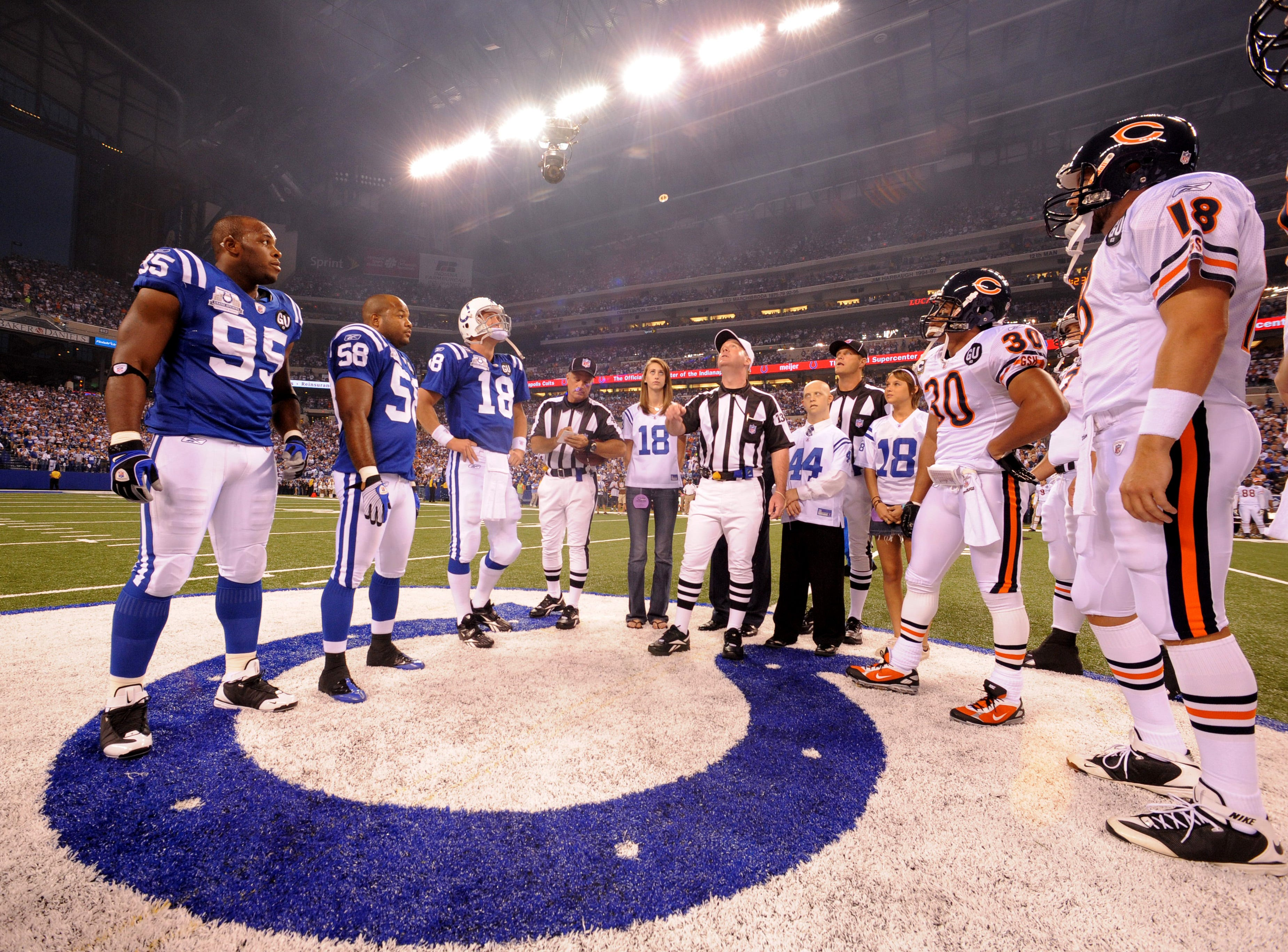 Indianapolis Colts and the Chicago Bears during the coin toss at the start of the Colts first regular season game at Lucas Oil Stadium on Sunday, September 7, 2008, at Lucas Oil Stadium.