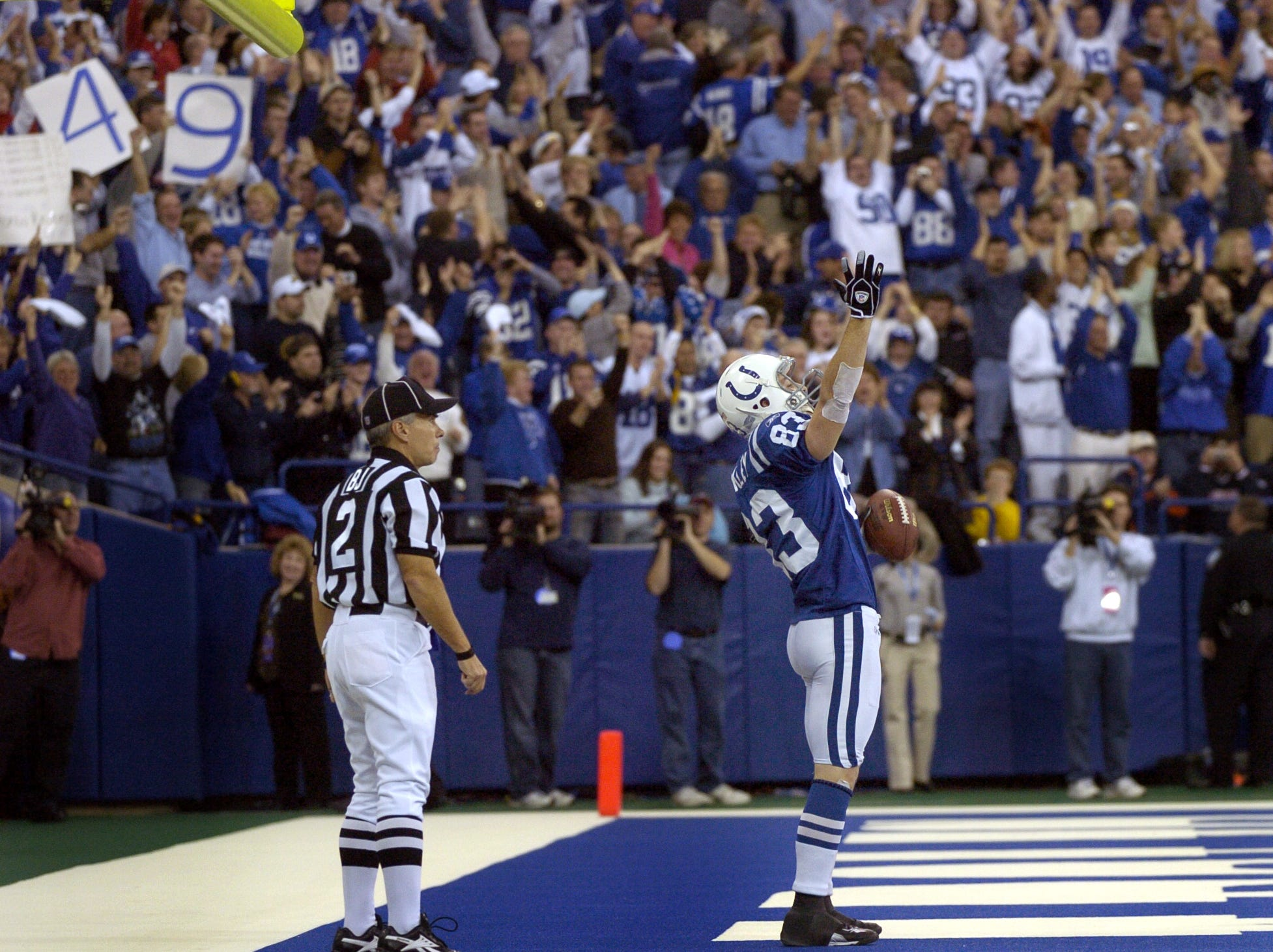 Indianapolis Colts Brandon Stokley celebrates after he caught a touchdown pass from Peyton Manning, Manning's 49th of the season, late in the fourth quarter of their game against the San Diego Chargers Sunday afternoon at the RCA Dome on Dec 26, 2004.