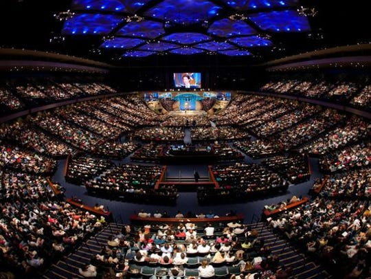 Joel Osteen's Lakewood Church in Houston, shown during service on Feb. 27, 2011, seats 17,000. Its church service is broadcast to more than 7 million weekly.