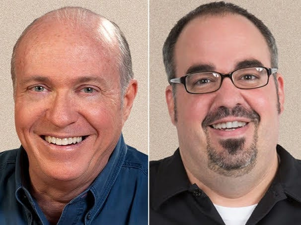 "Tom Griswold, left, and Josh Arnold of ""The Bob & Tom Show"" will appear at benefits for the Nora Dane Fund in Indianapolis and Lafayette."