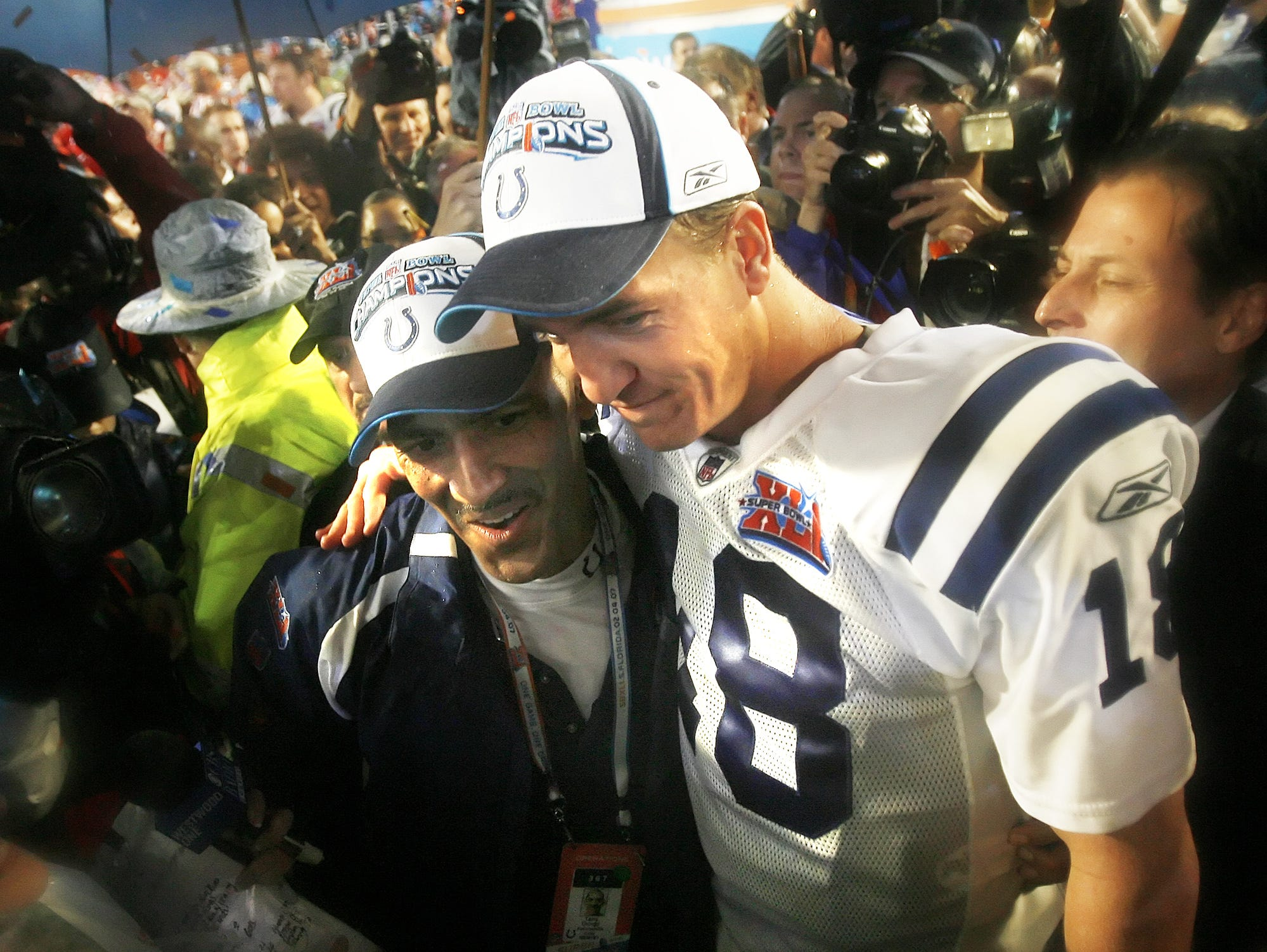 Colts head coach Tony Dungy and Peyton Manning celebrate together following their 29-17 win over the Chicago Bears in Super Bowl XLI on Feb 4, 2007.