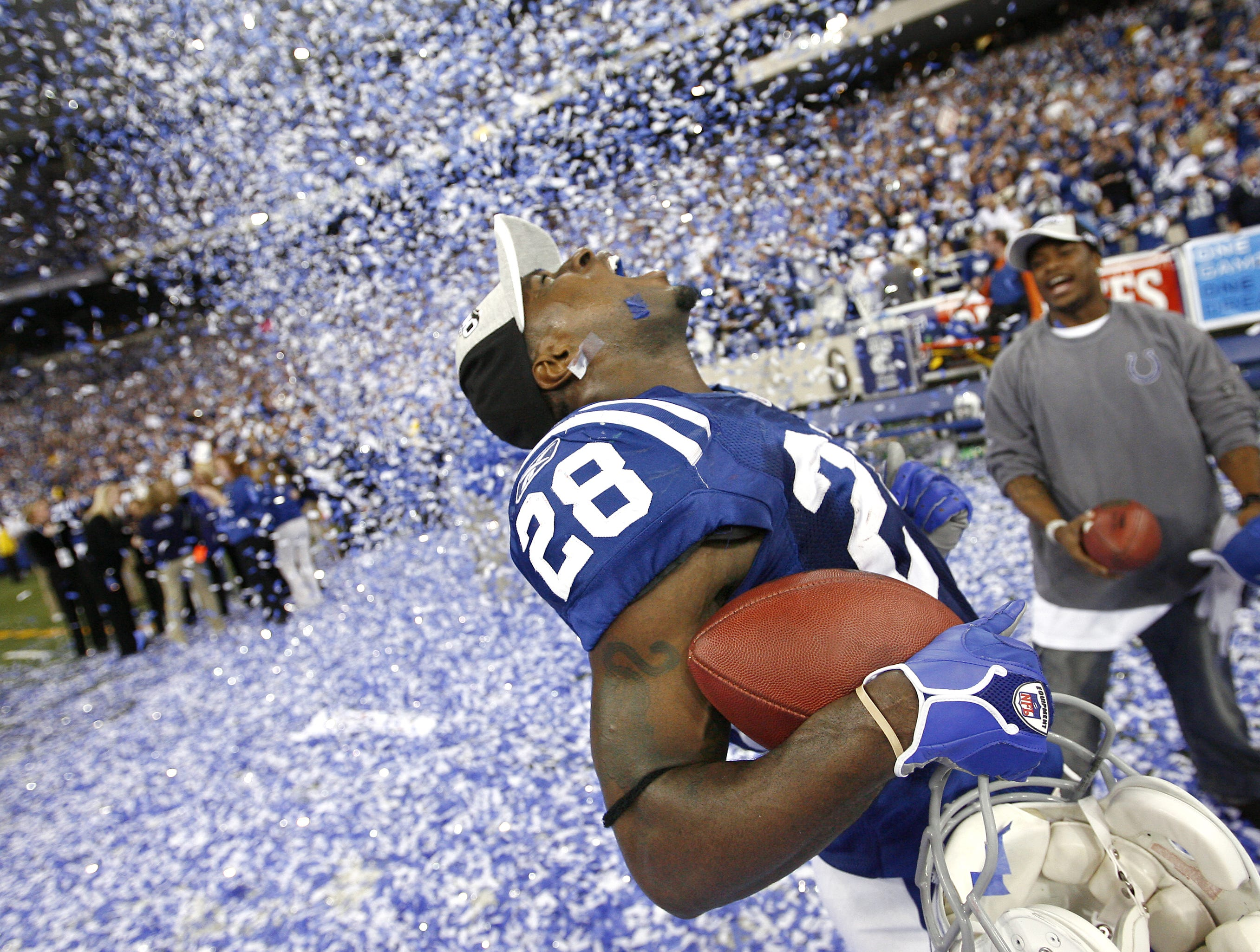 Colts defensive back Marlin Jackson, who intercepted the pass from a Tom Brady last attempt to score, screams in celebration in the confetti after the Colts won the AFC Championship game 38-34 over the New England Patriots at the RCA Dome on January 21, 2007.