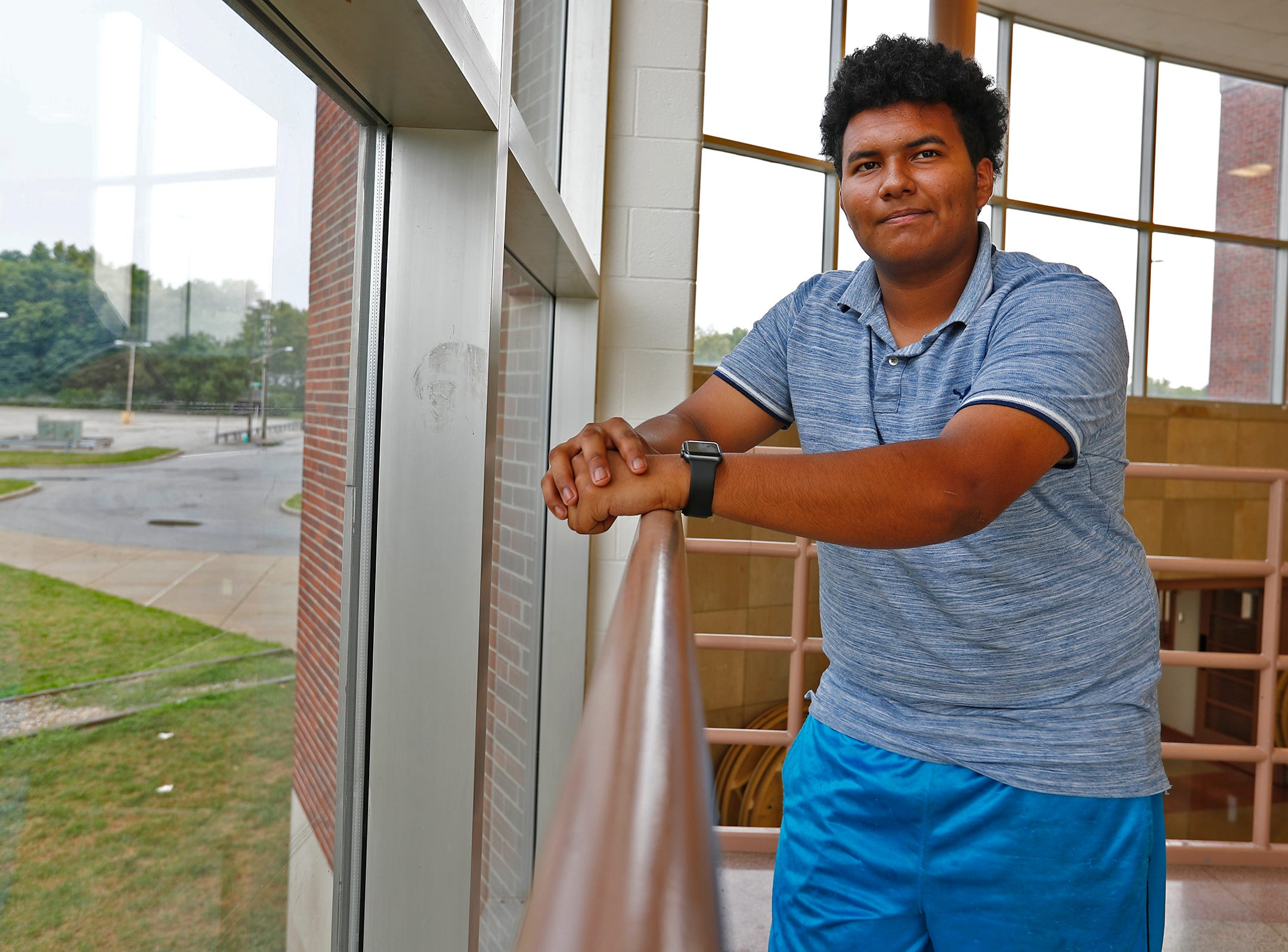Lester, at Emmerich Manual High School, Monday, July 31, 2018.  He moved to Indianapolis when he was 15 years old and is set to graduate from Manual in 2019.  Lester, an undocumented immigrant from Honduras, dreams of going to college.  He hopes that football will help him pay for that dream.