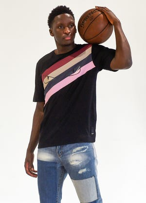Victor Oladipo, guard for the Indiana Pacers, poses for portraits at Skill Lab in Miami on Monday, Aug. 6, 2018.