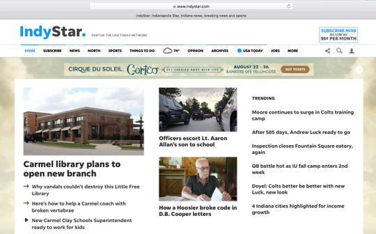 The IndyStar homepage