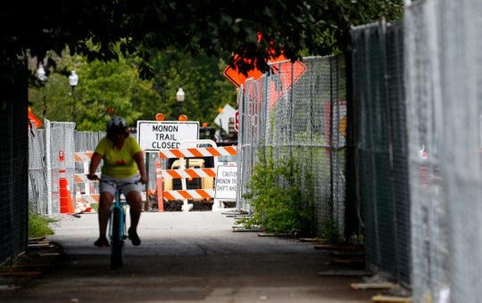 Construction continues on the widening of Monon Trail in Midtown Carmel, Tuesday, Aug. 7, 2018.