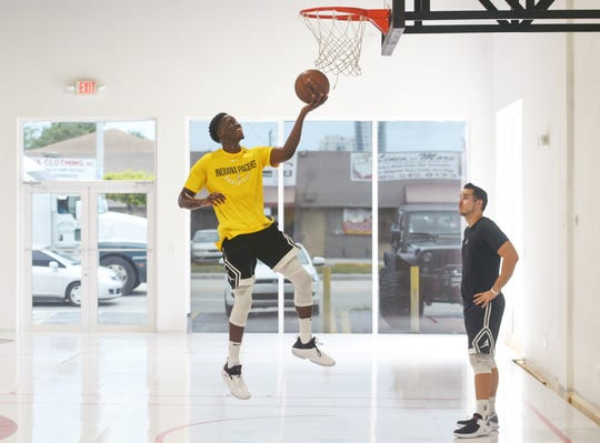 Victor Oladipo, guard for the Indiana Pacers, runs through ball handling and shooting drills at Skill Lab in Miami on Monday, Aug. 6, 2018.