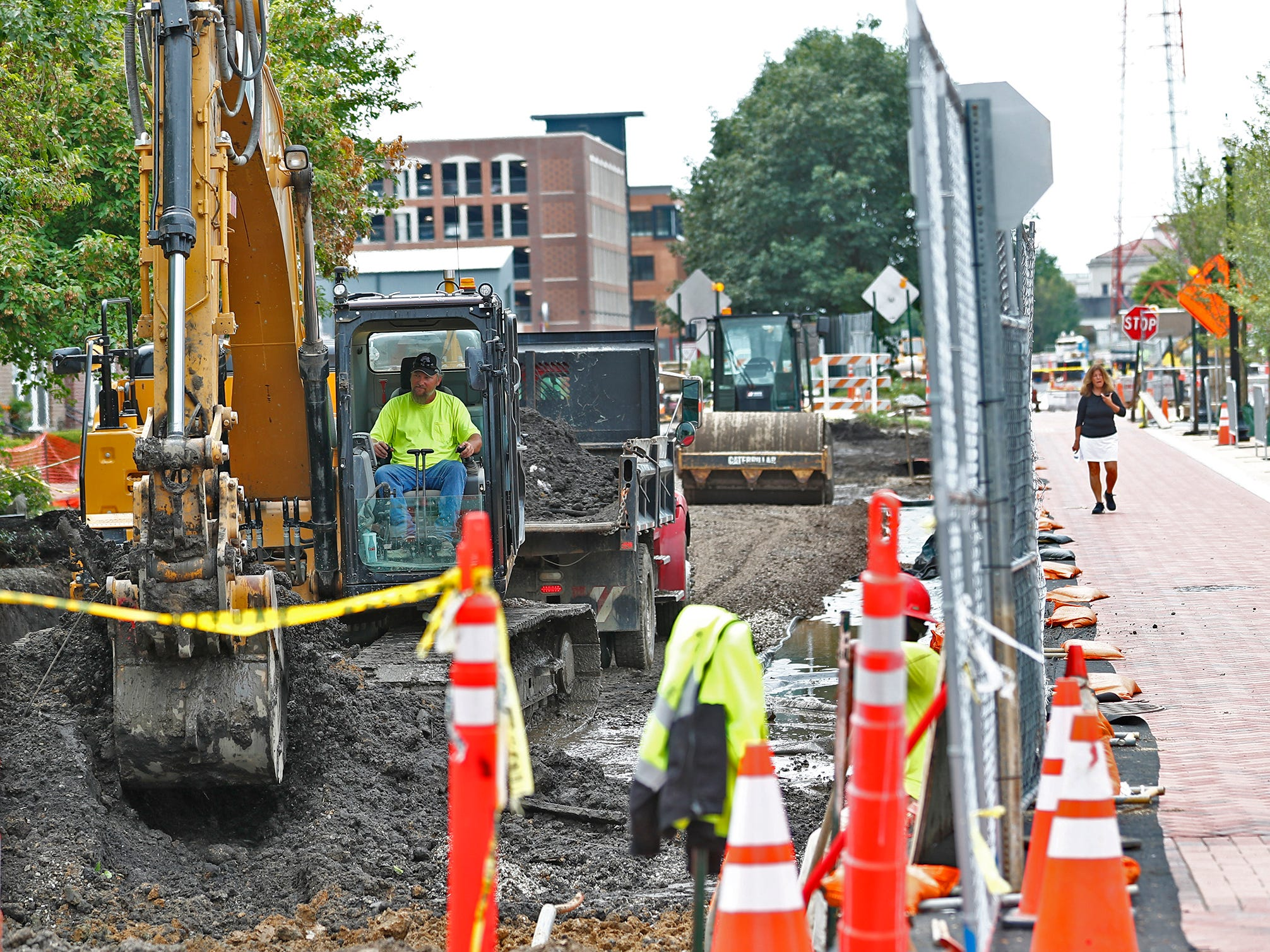 Construction continues on the widening of Monon Trail in Midtown Carmel, Tuesday, Aug. 7, 2018, near Main St.