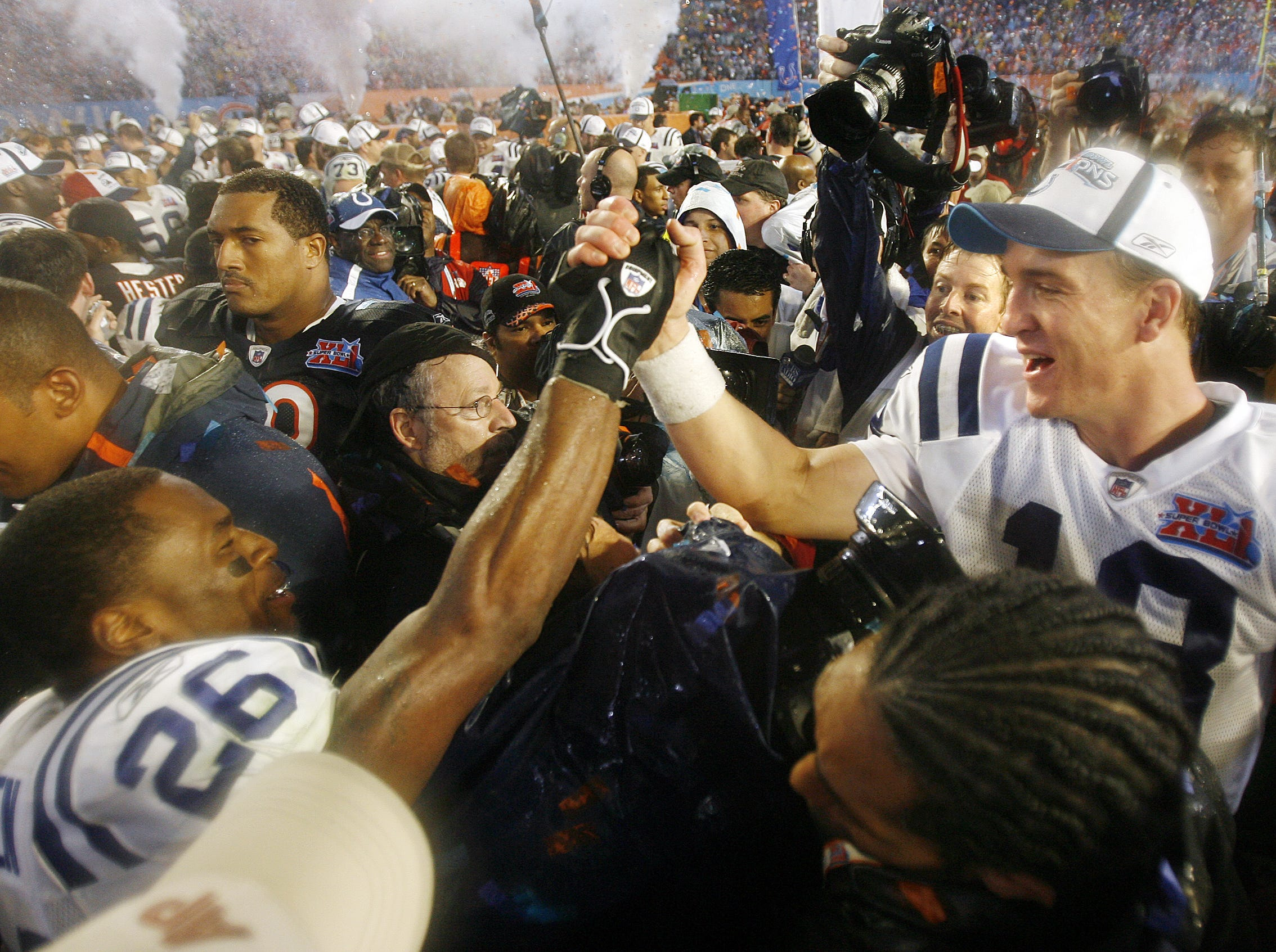 Indianapolis Colts Colts Peyton Manning, right, high fives Kelvin Hayden,left, following the Colts 29-17 win in Super Bowl XLI on Feb 4, 2007.