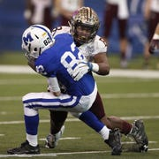 Brebeuf Jesuit's Jay Higgins is one of the area's leading tacklers.