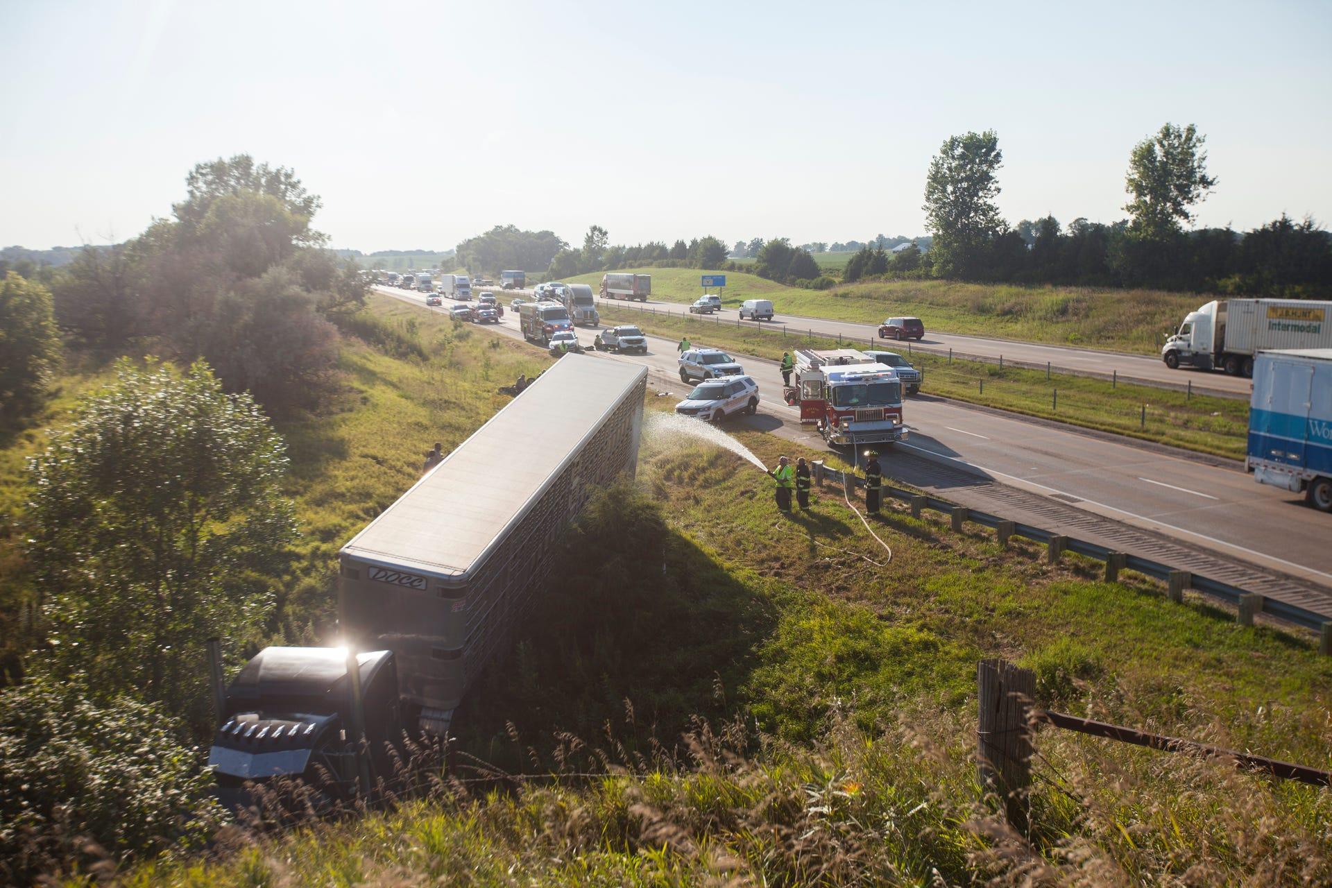 Photos: Motorcycle vs  semi I-80 accident