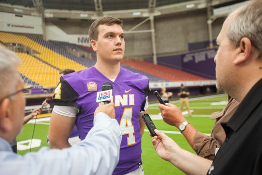 UNI quarterback Eli Dunne speaks with members of the media during media day on Wednesday, Aug. 8, 2018, at the UNI-Dome in Cedar Falls, Iowa.