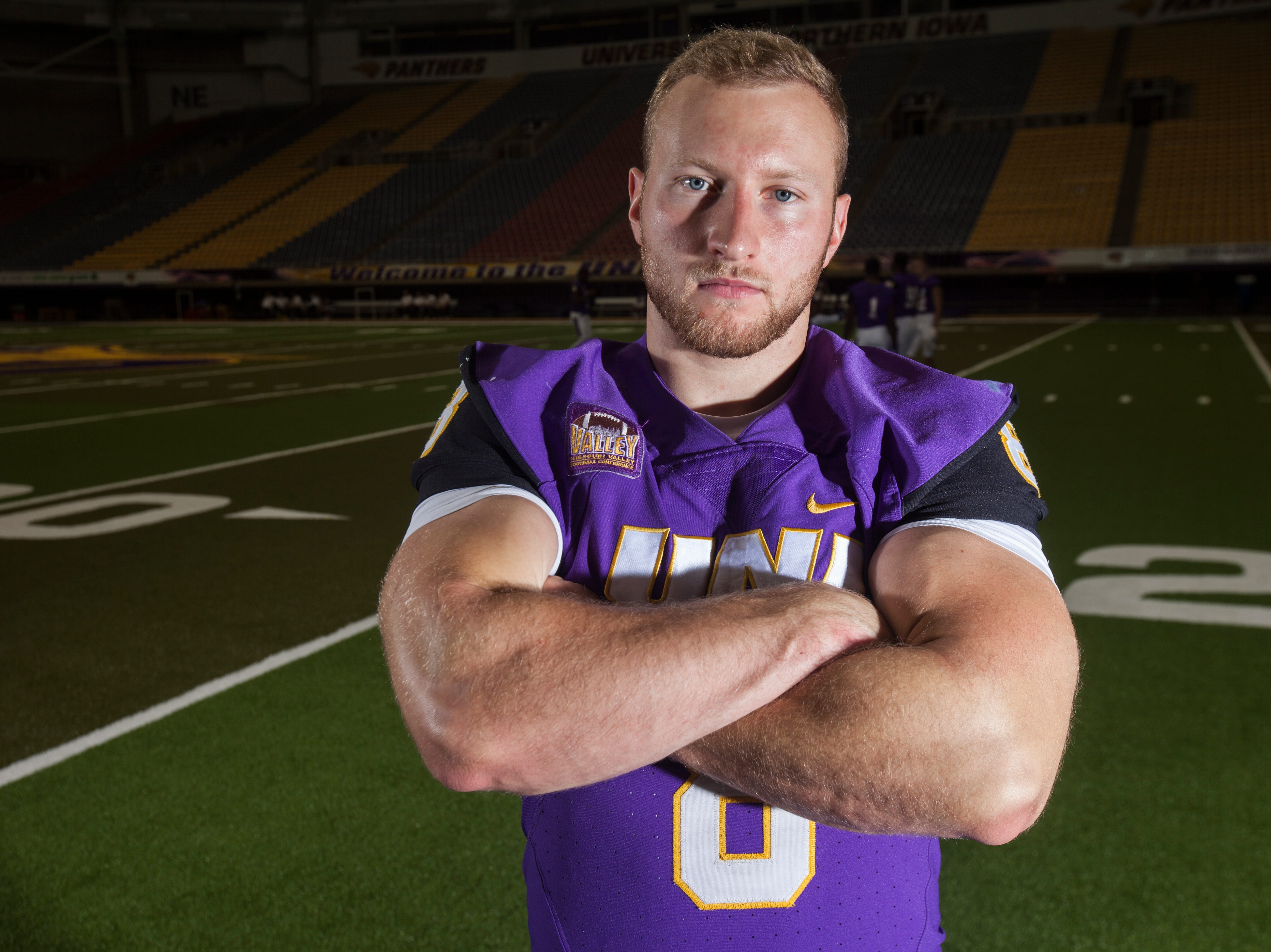 UNI running back Marcus Weymiller poses for a portrait during media day on Wednesday, Aug. 8, 2018, at the UNI-Dome in Cedar Falls, Iowa.