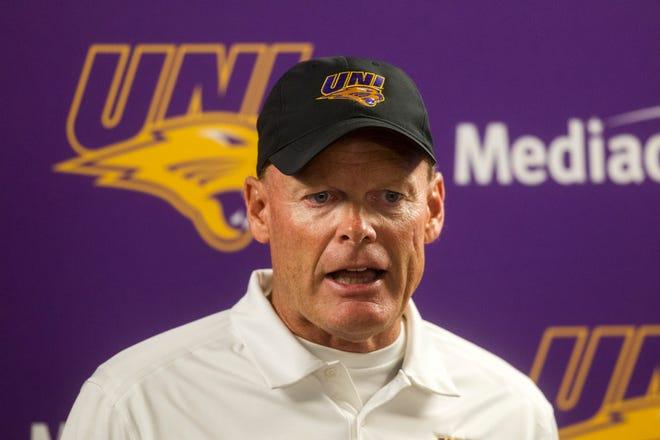 UNI head coach Mark Farley speaks during media day on Wednesday, Aug. 8, 2018, at the UNI-Dome in Cedar Falls, Iowa.