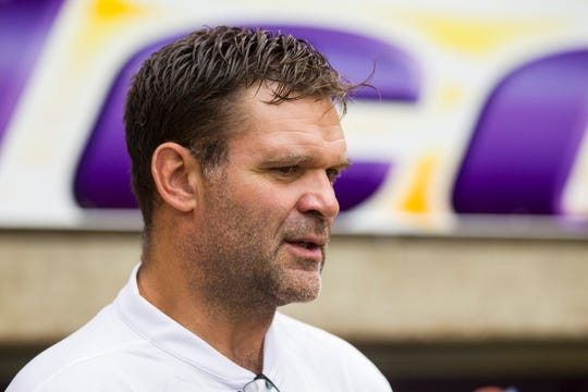 UNI defensive line coach Bryce Paup speaks with reporters during media day on Wednesday, Aug. 8, 2018, at the UNI-Dome in Cedar Falls, Iowa.
