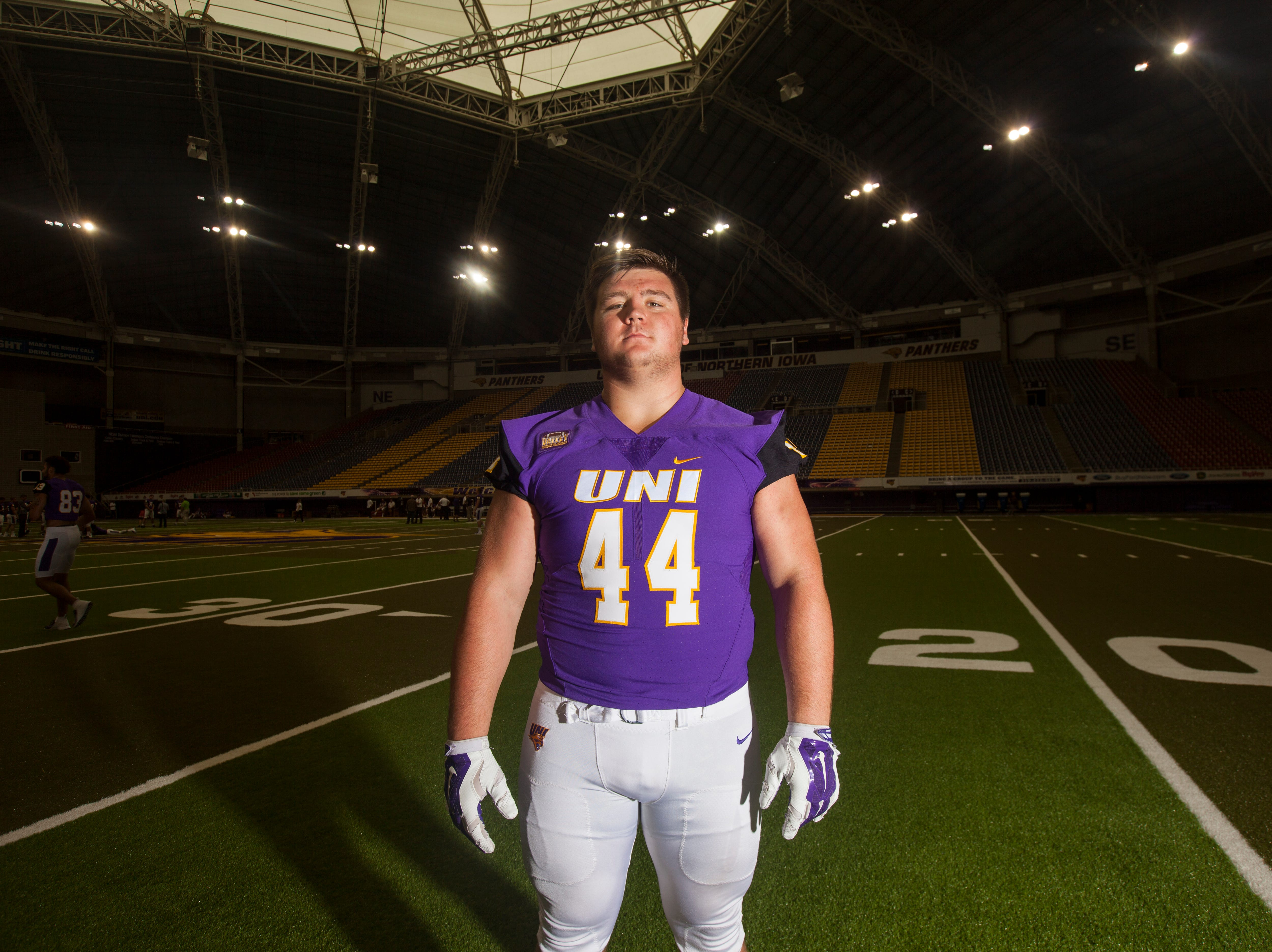 UNI defensive lineman Jared Brinkman poses for a portrait during media day on Wednesday, Aug. 8, 2018, at the UNI-Dome in Cedar Falls, Iowa.