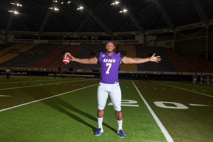 UNI linebacker Rickey Neal Jr. poses for a portrait during media day on Wednesday, Aug. 8, 2018, at the UNI-Dome in Cedar Falls, Iowa.