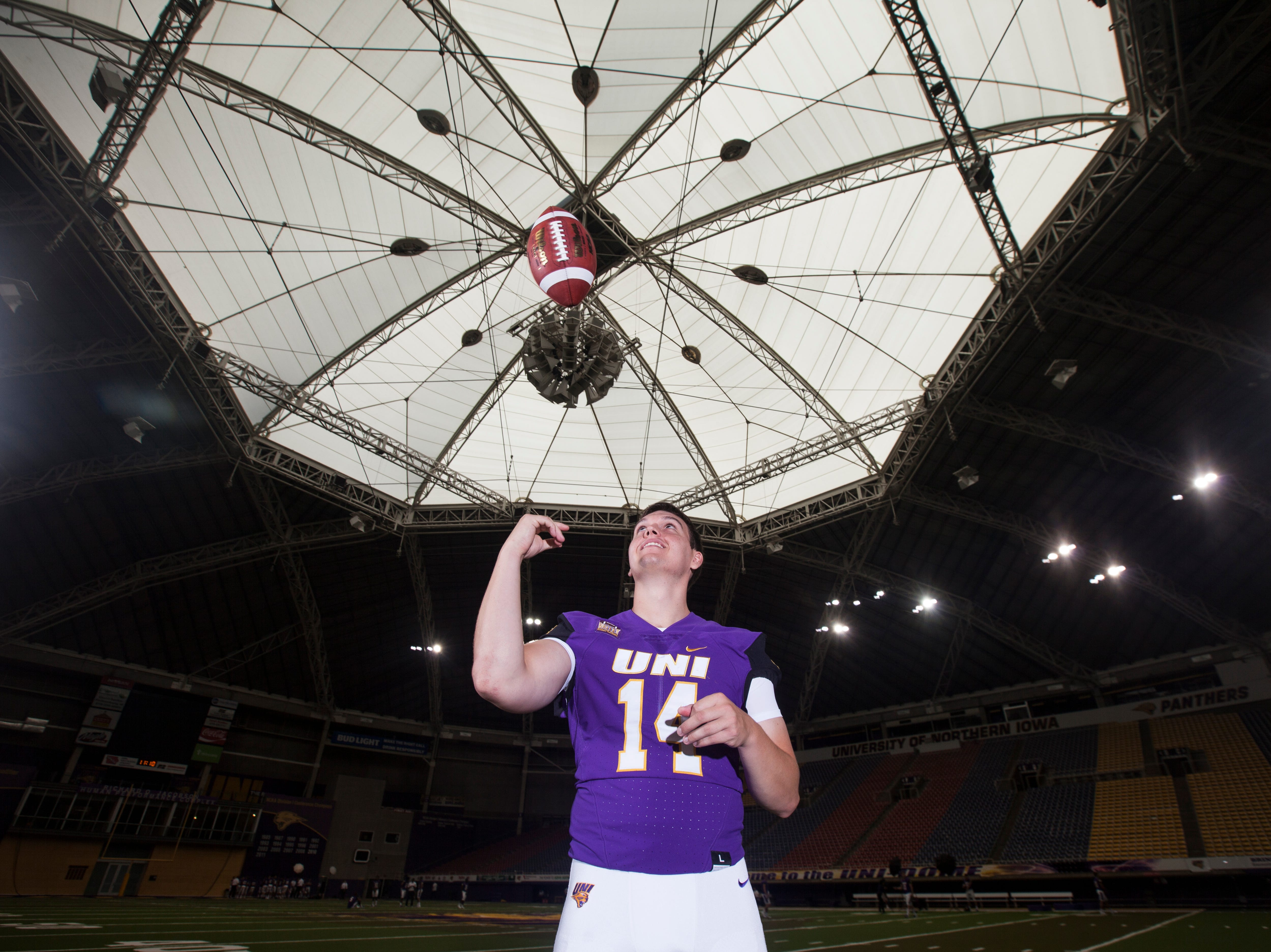 UNI quarterback Eli Dunne poses for a portrait during media day on Wednesday, Aug. 8, 2018, at the UNI-Dome in Cedar Falls, Iowa.