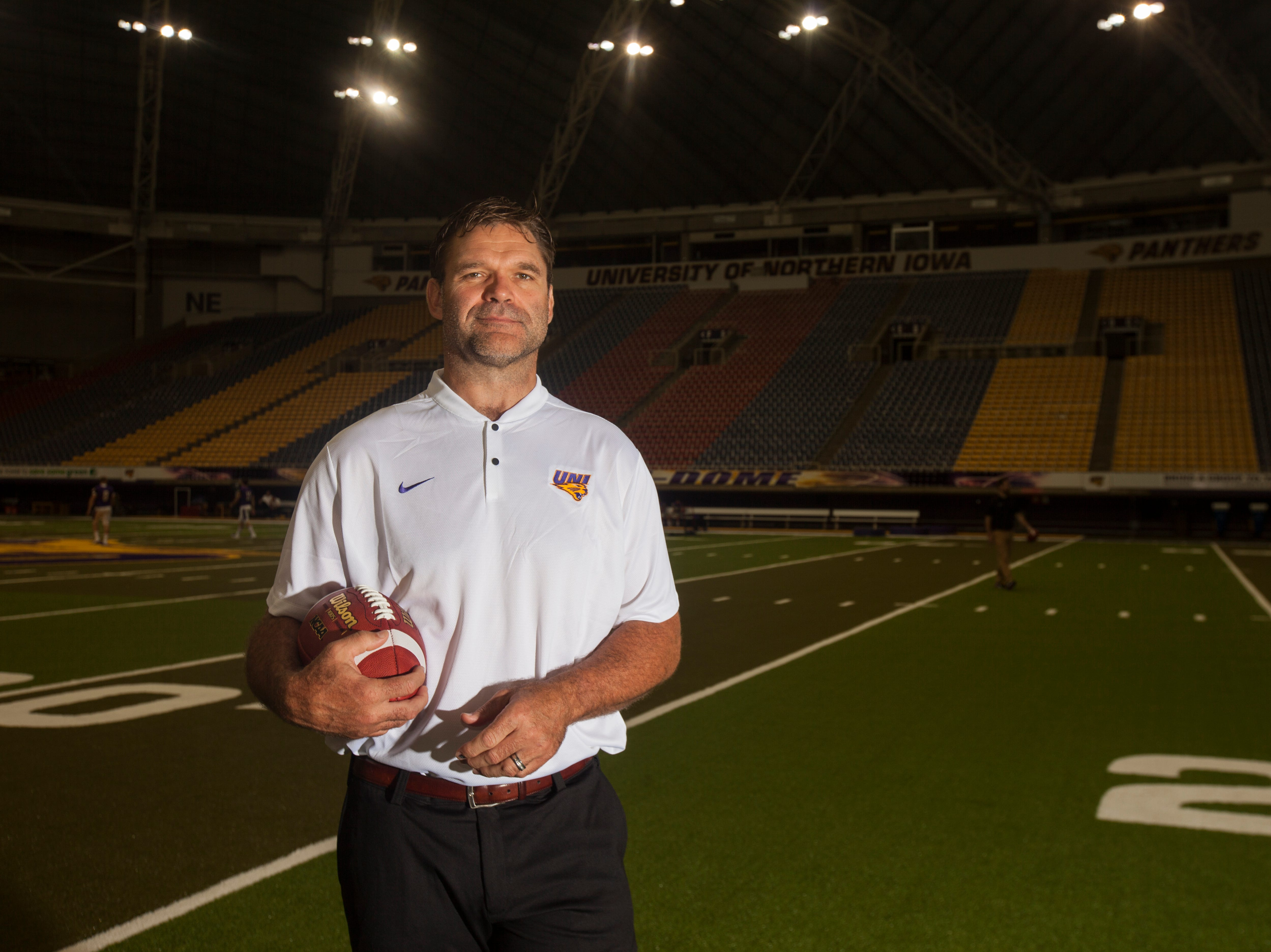 UNI defensive line coach Bryce Paup poses for a portrait during media day on Wednesday, Aug. 8, 2018, at the UNI-Dome in Cedar Falls, Iowa.