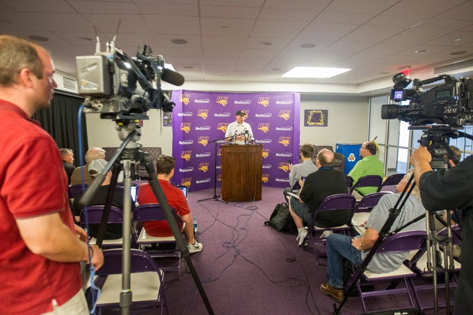 UNI head coach Mark Farley speaks during media day on Wednesday, Aug. 8, 2018, at the UNI-Dome in Cedar Falls, Iowa.