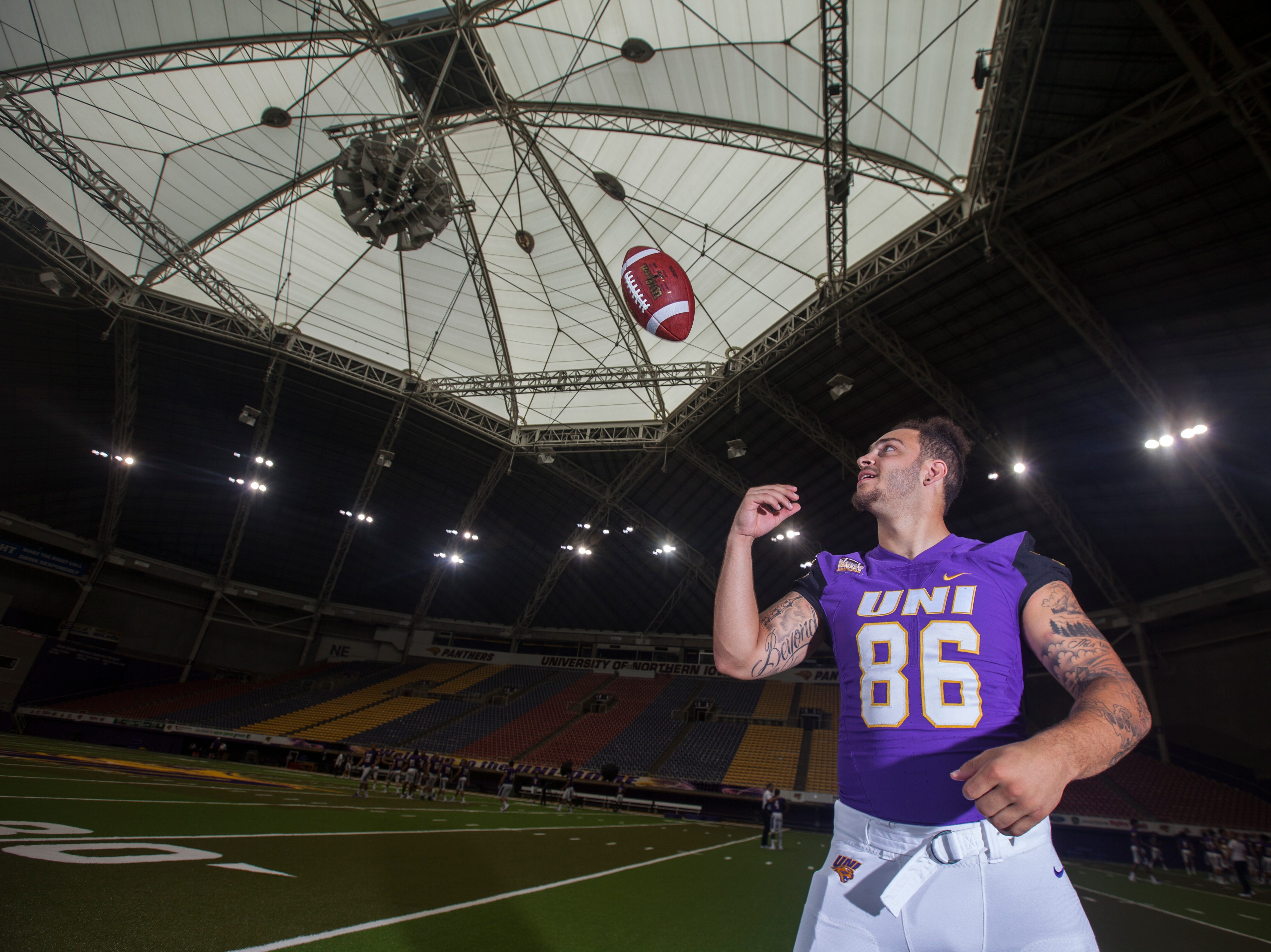 UNI tight end Briley Moore poses for a portrait during media day on Wednesday, Aug. 8, 2018, at the UNI-Dome in Cedar Falls, Iowa.