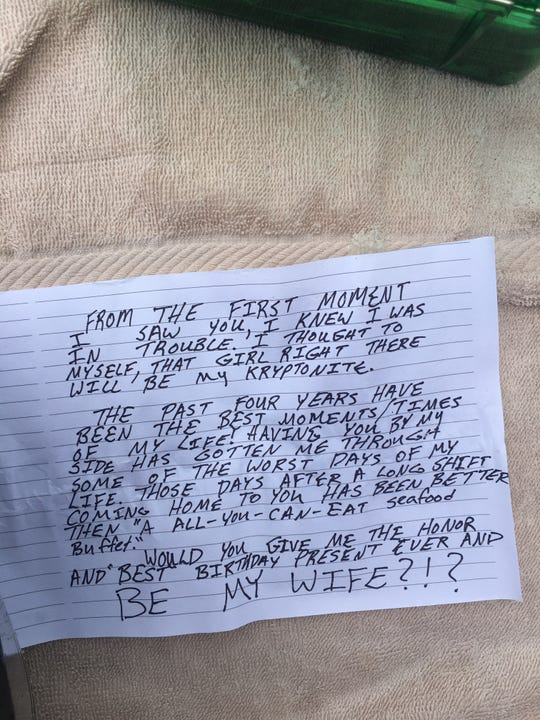 This note was supposed to go inside a bottle as part of Taylor Farrar's proposal. But after losing his ring in the ocean and then recovering it, he decided to just drop to a knee on the beach Aug. 3, 2018.