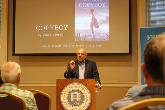 "Vince Vawter discussed his novels ""Paperboy"" and ""Copyboy"" at the East Tennessee History Center on Tuesday night."