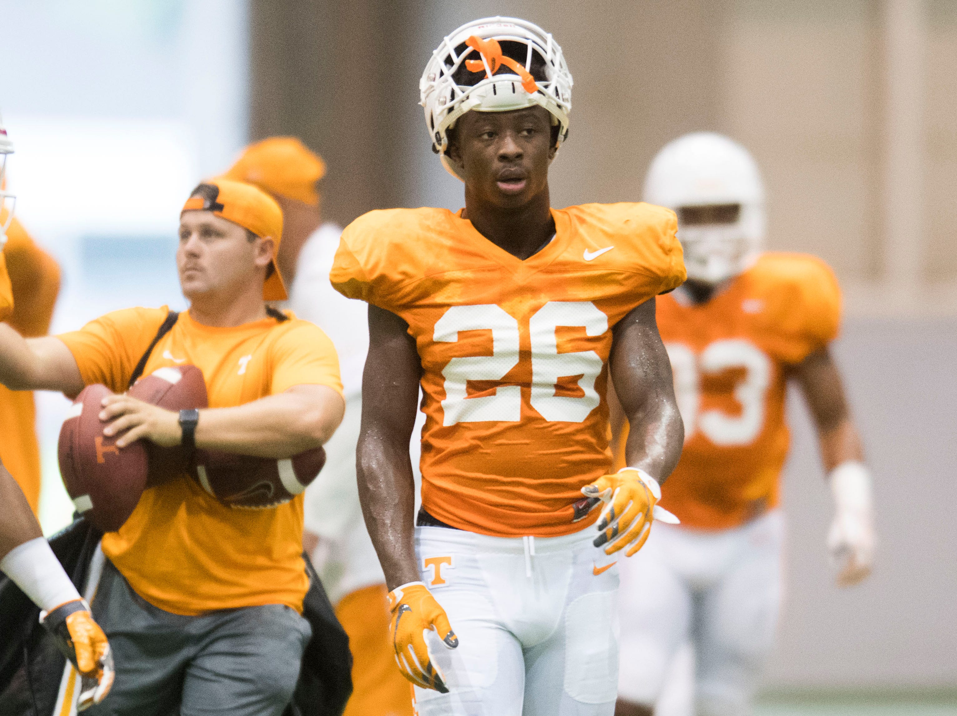 Tennessee defensive back Theo Jackson (26) walks on the field during UT Vols preseason football practice Wednesday, Aug. 8, 2018.