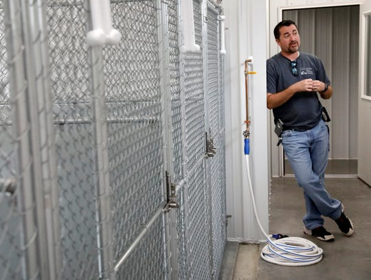 Corey Schoonover, executive director of the Fairfield Area Humane Society, talks about the agency's new 1,300-square foot veterinary clinic, boarding and grooming building.