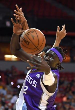 Jul 10, 2018; Las Vegas, NV, USA; Sacramento Kings forward Wenyen Gabriel (32) loses the ball during the first half against the Memphis Grizzlies at Thomas & Mack Center.