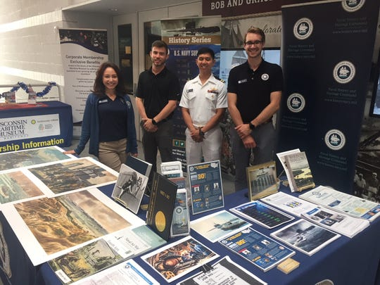 Naval History and Heritage Command members at Mantiowoc's Wisconsin Maritime Museum for Navy Week Aug. 7.